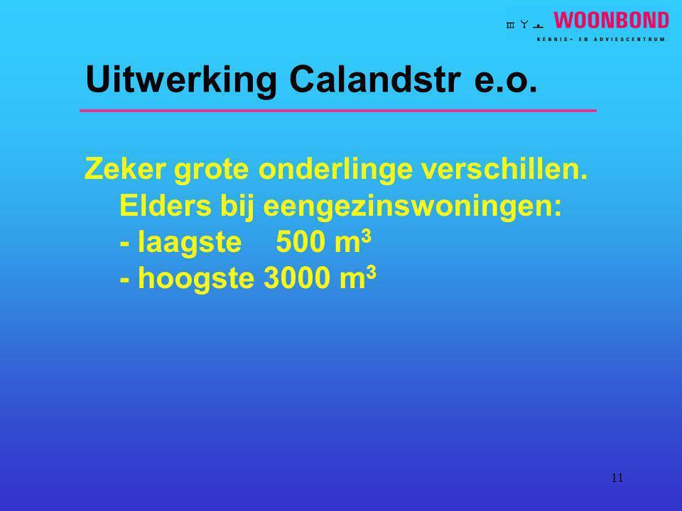 11 Uitwerking Calandstr e.o. Zeker grote onderlinge verschillen. Elders bij eengezinswoningen: - laagste 500 m 3 - hoogste 3000 m 3