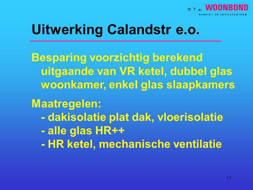 13 Uitwerking Calandstr e.o. Besparing voorzichtig berekend uitgaande van VR ketel, dubbel glas woonkamer, enkel glas slaapkamers Maatregelen: - dakis