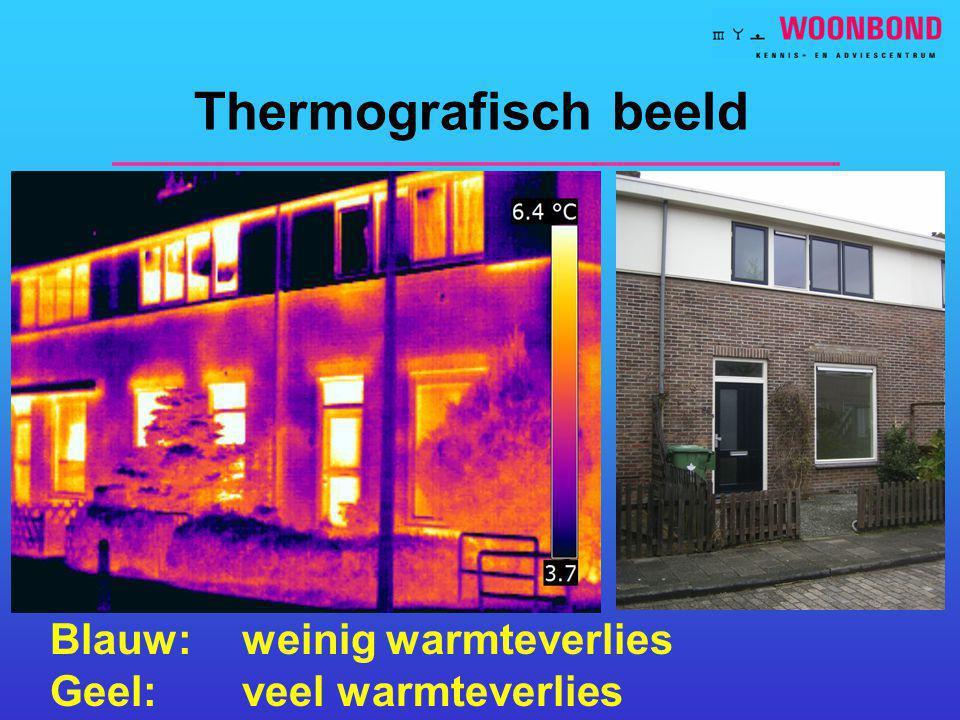 Thermografisch beeld Blauw: weinig warmteverlies Geel: veel warmteverlies