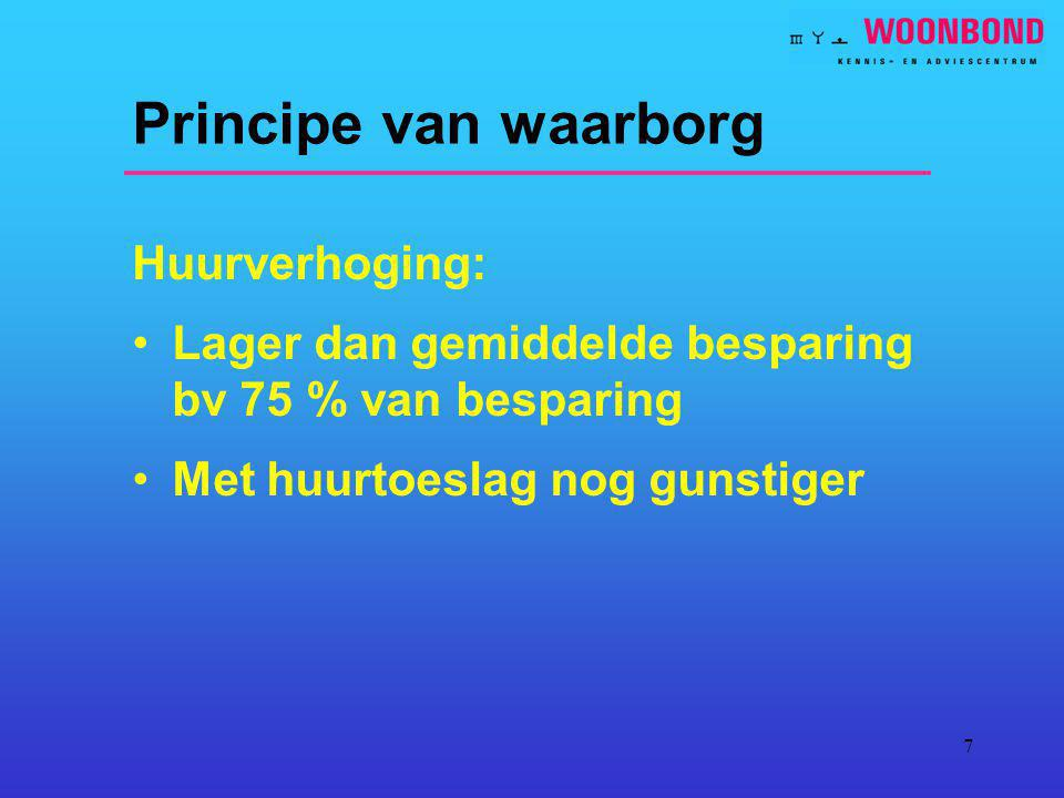 7 Principe van waarborg Huurverhoging: Lager dan gemiddelde besparing bv 75 % van besparing Met huurtoeslag nog gunstiger