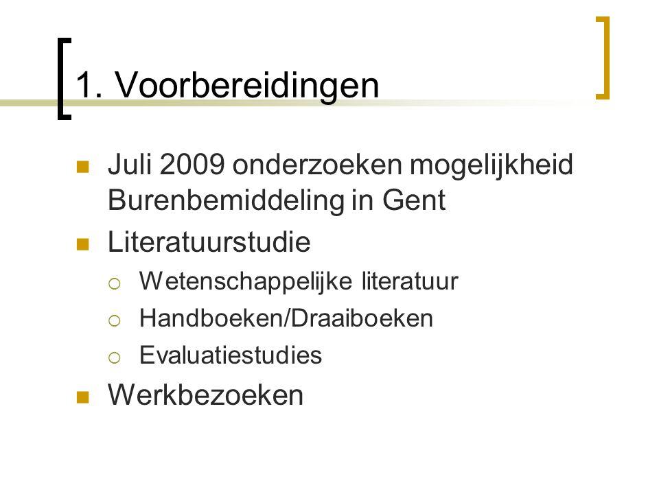 1. Voorbereidingen Juli 2009 onderzoeken mogelijkheid Burenbemiddeling in Gent Literatuurstudie  Wetenschappelijke literatuur  Handboeken/Draaiboeke