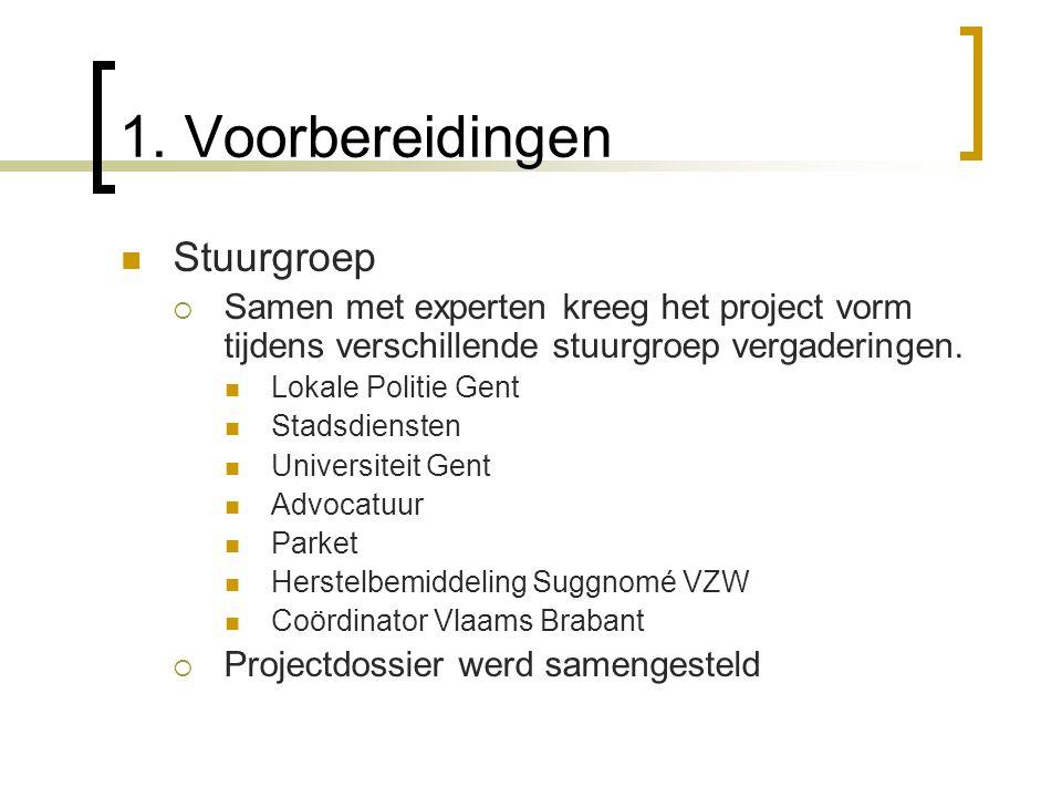 1. Voorbereidingen Stuurgroep  Samen met experten kreeg het project vorm tijdens verschillende stuurgroep vergaderingen. Lokale Politie Gent Stadsdie