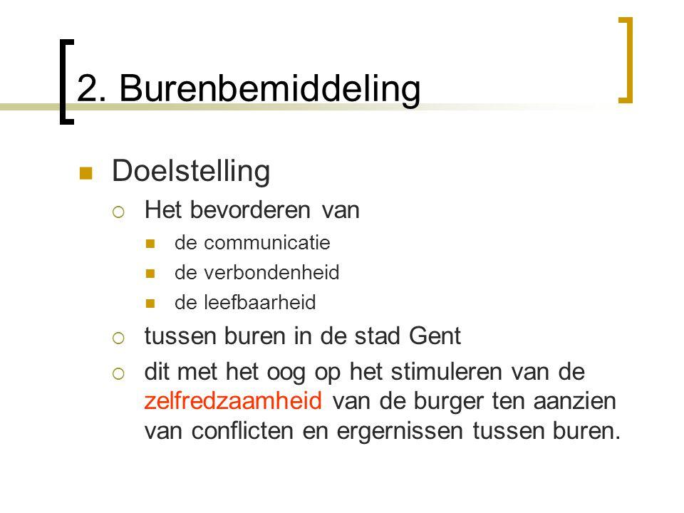 2. Burenbemiddeling Doelstelling  Het bevorderen van de communicatie de verbondenheid de leefbaarheid  tussen buren in de stad Gent  dit met het oo
