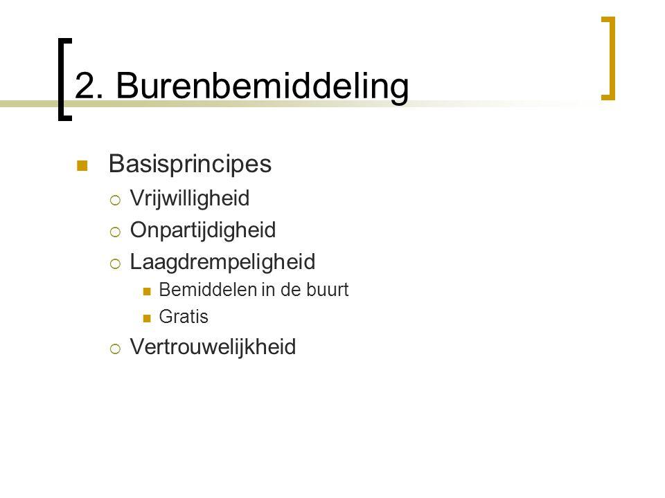 2. Burenbemiddeling Basisprincipes  Vrijwilligheid  Onpartijdigheid  Laagdrempeligheid Bemiddelen in de buurt Gratis  Vertrouwelijkheid