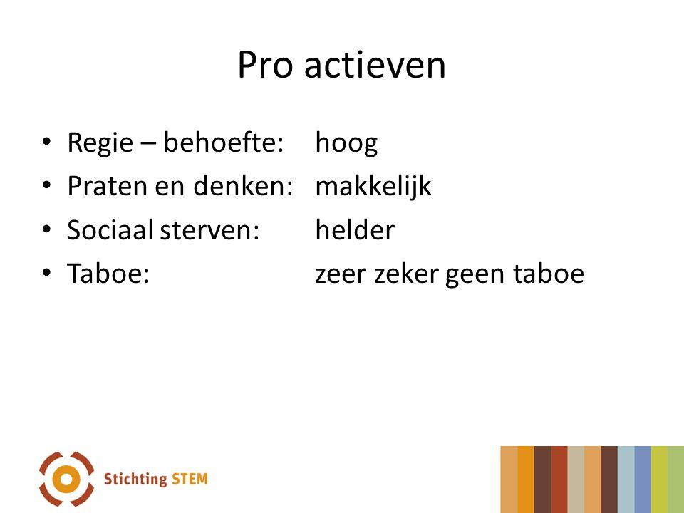 Pro actieven Regie – behoefte: hoog Praten en denken:makkelijk Sociaal sterven:helder Taboe:zeer zeker geen taboe