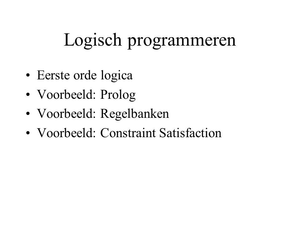 Logisch programmeren Eerste orde logica Voorbeeld: Prolog Voorbeeld: Regelbanken Voorbeeld: Constraint Satisfaction