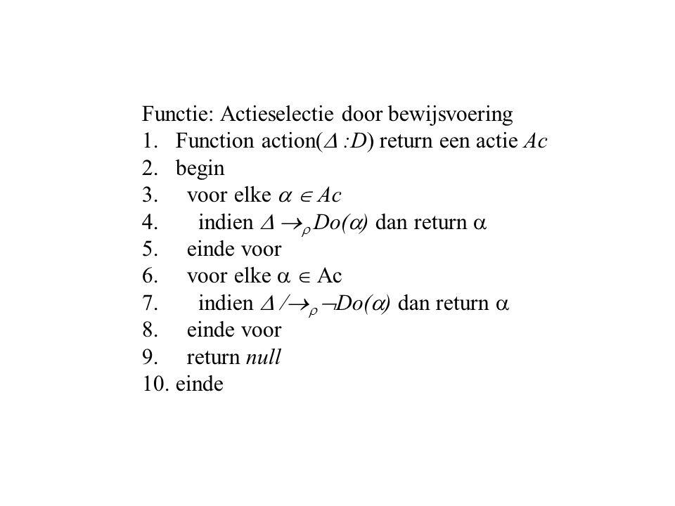 Functie: Actieselectie door bewijsvoering 1.Function action(  :D) return een actie Ac 2.begin 3.