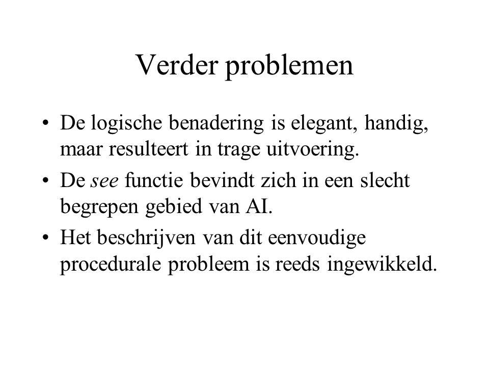 Verder problemen De logische benadering is elegant, handig, maar resulteert in trage uitvoering.