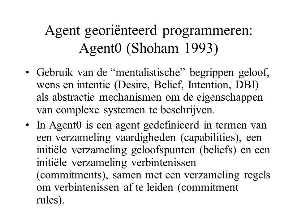 Agent georiënteerd programmeren: Agent0 (Shoham 1993) Gebruik van de mentalistische begrippen geloof, wens en intentie (Desire, Belief, Intention, DBI) als abstractie mechanismen om de eigenschappen van complexe systemen te beschrijven.