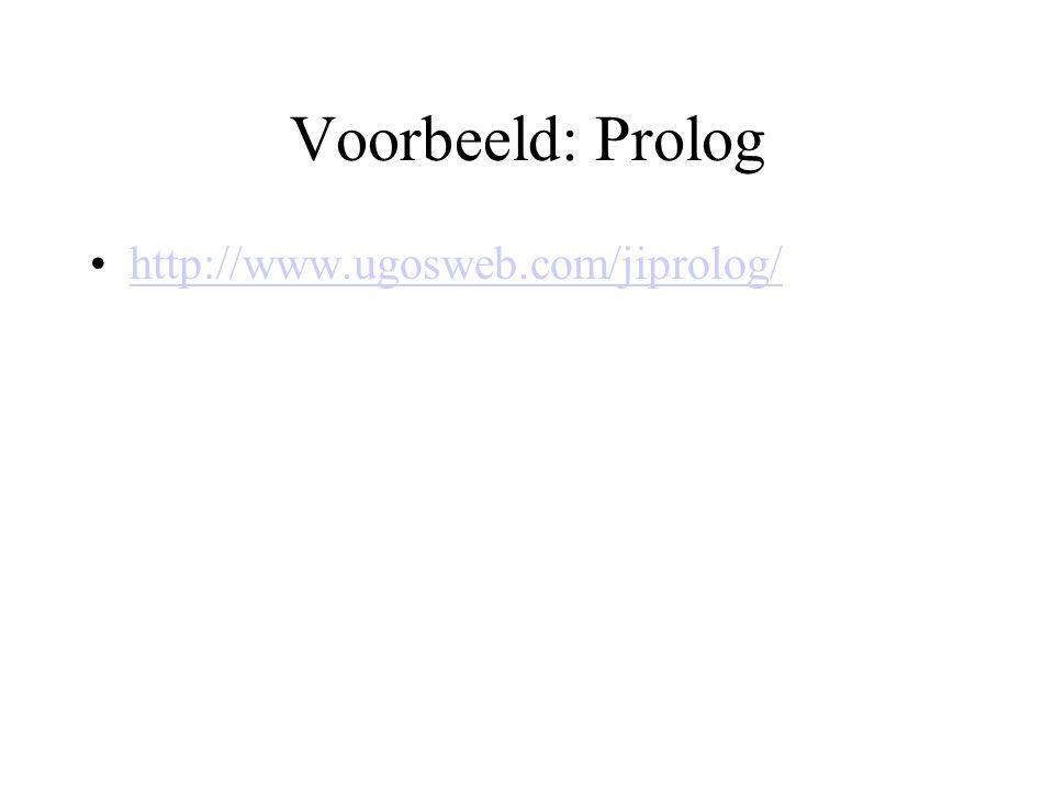 Voorbeeld: Prolog http://www.ugosweb.com/jiprolog/