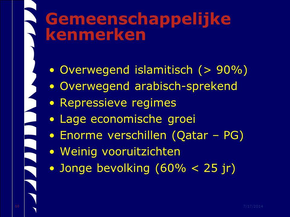 7/17/2014 10 Gemeenschappelijke kenmerken Overwegend islamitisch (> 90%) Overwegend arabisch-sprekend Repressieve regimes Lage economische groei Enorme verschillen (Qatar – PG) Weinig vooruitzichten Jonge bevolking (60% < 25 jr)