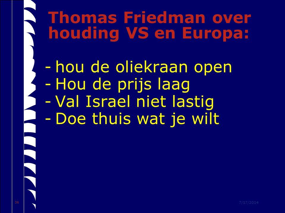 7/17/2014 36 Thomas Friedman over houding VS en Europa: -hou de oliekraan open -Hou de prijs laag -Val Israel niet lastig -Doe thuis wat je wilt