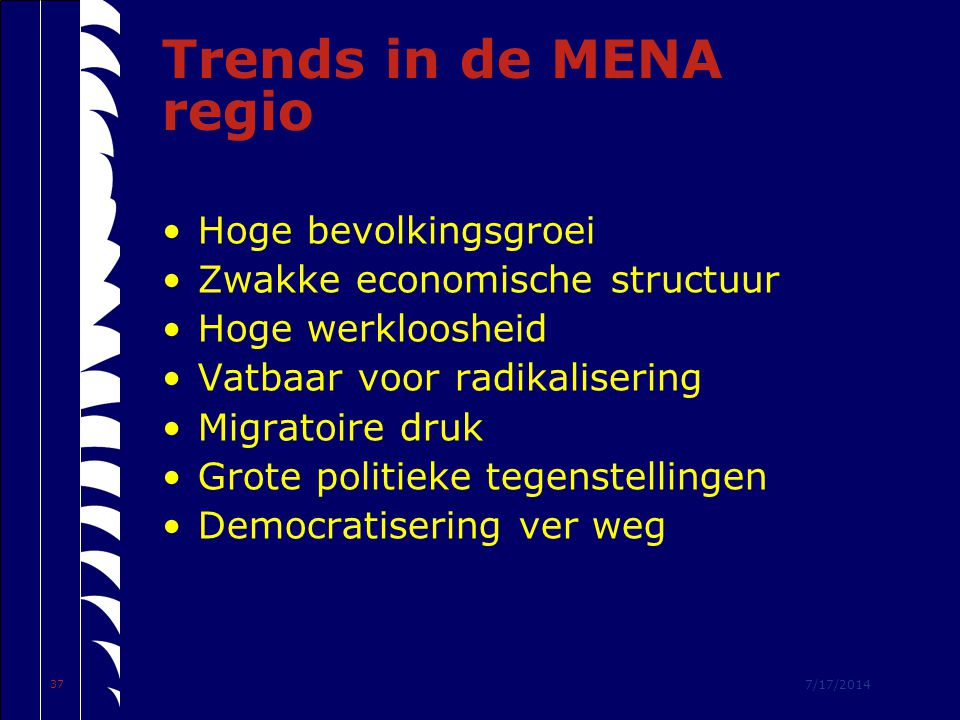 7/17/2014 37 Trends in de MENA regio Hoge bevolkingsgroei Zwakke economische structuur Hoge werkloosheid Vatbaar voor radikalisering Migratoire druk Grote politieke tegenstellingen Democratisering ver weg