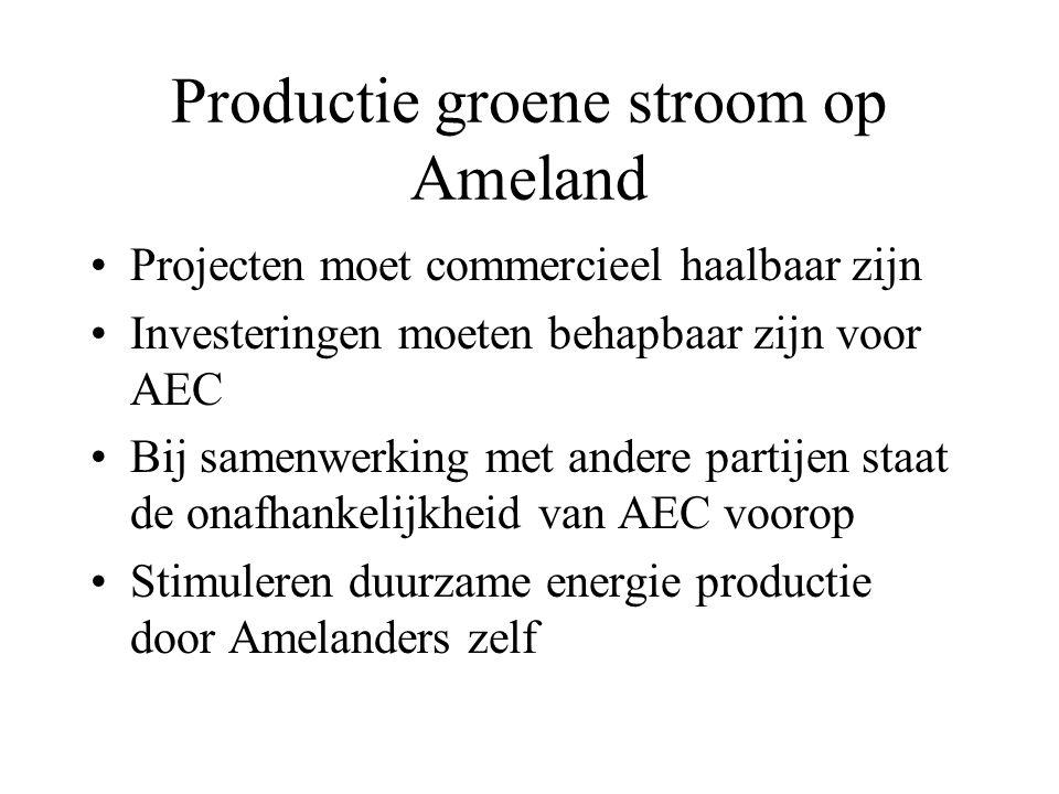 Productie groene stroom op Ameland Projecten moet commercieel haalbaar zijn Investeringen moeten behapbaar zijn voor AEC Bij samenwerking met andere partijen staat de onafhankelijkheid van AEC voorop Stimuleren duurzame energie productie door Amelanders zelf