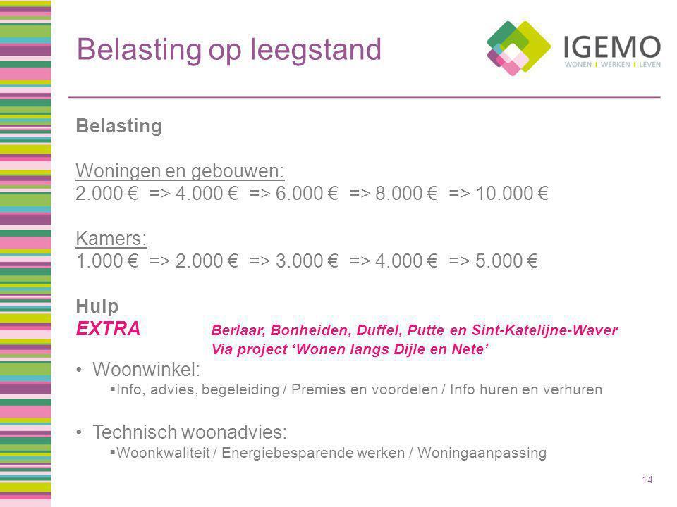 Belasting op leegstand 14 Belasting Woningen en gebouwen: 2.000 € => 4.000 € => 6.000 € => 8.000 € => 10.000 € Kamers: 1.000 € => 2.000 € => 3.000 € => 4.000 € => 5.000 € Hulp EXTRA Berlaar, Bonheiden, Duffel, Putte en Sint-Katelijne-Waver Via project 'Wonen langs Dijle en Nete' Woonwinkel:  Info, advies, begeleiding / Premies en voordelen / Info huren en verhuren Technisch woonadvies:  Woonkwaliteit / Energiebesparende werken / Woningaanpassing