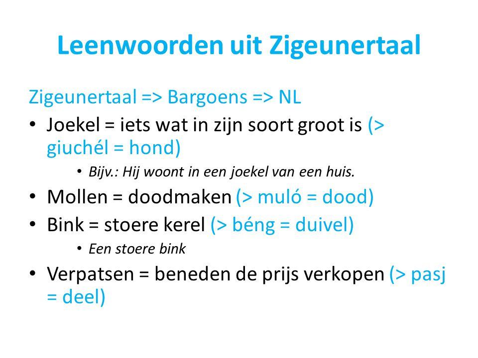Leenwoorden uit Zigeunertaal Zigeunertaal => Bargoens => NL Joekel = iets wat in zijn soort groot is (> giuchél = hond) Bijv.: Hij woont in een joekel van een huis.