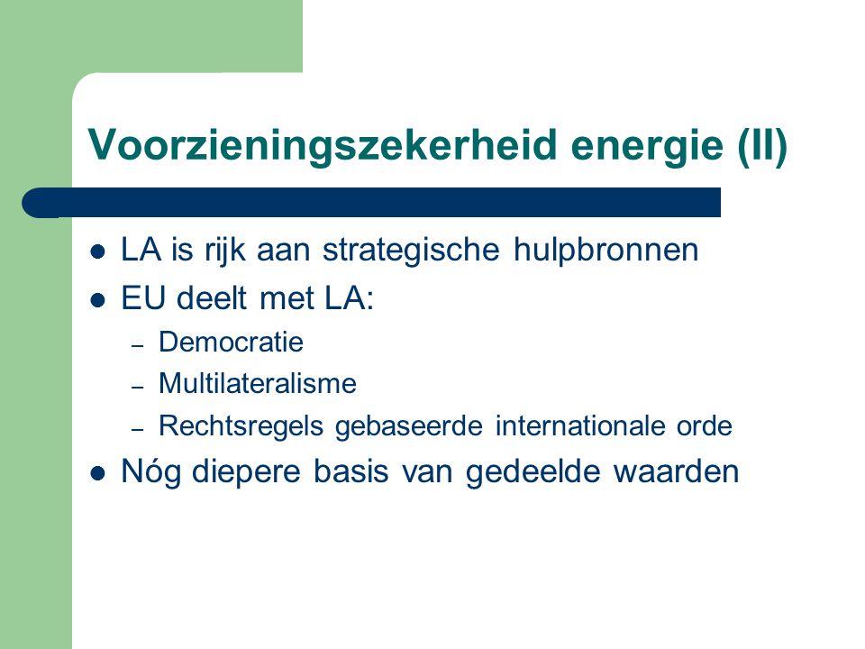 Voorzieningszekerheid energie (II) LA is rijk aan strategische hulpbronnen EU deelt met LA: – Democratie – Multilateralisme – Rechtsregels gebaseerde internationale orde Nóg diepere basis van gedeelde waarden