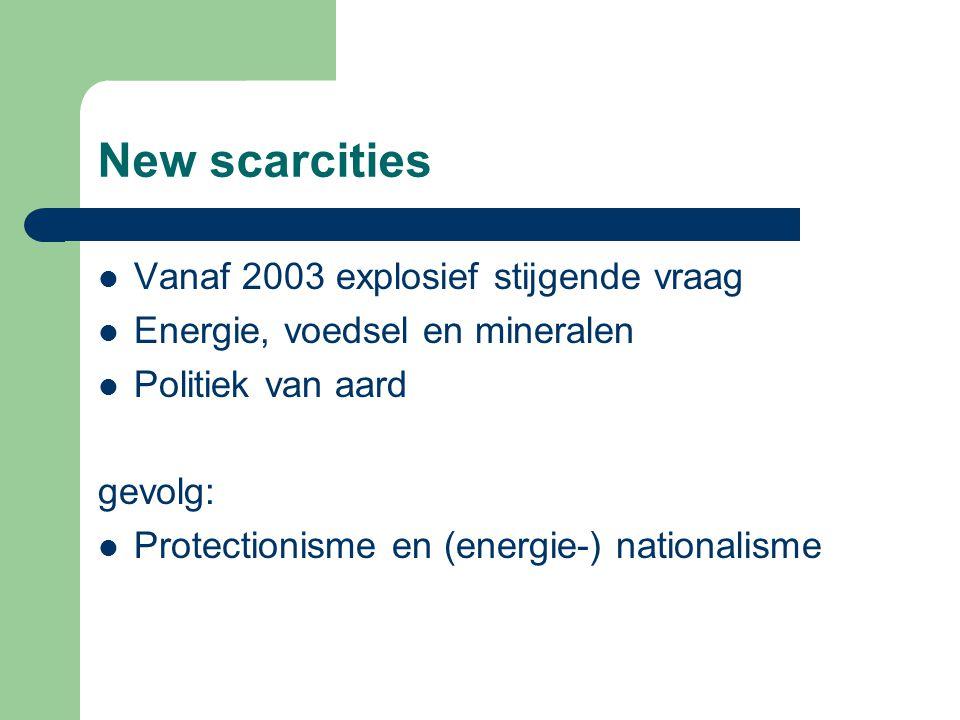 New scarcities Vanaf 2003 explosief stijgende vraag Energie, voedsel en mineralen Politiek van aard gevolg: Protectionisme en (energie-) nationalisme