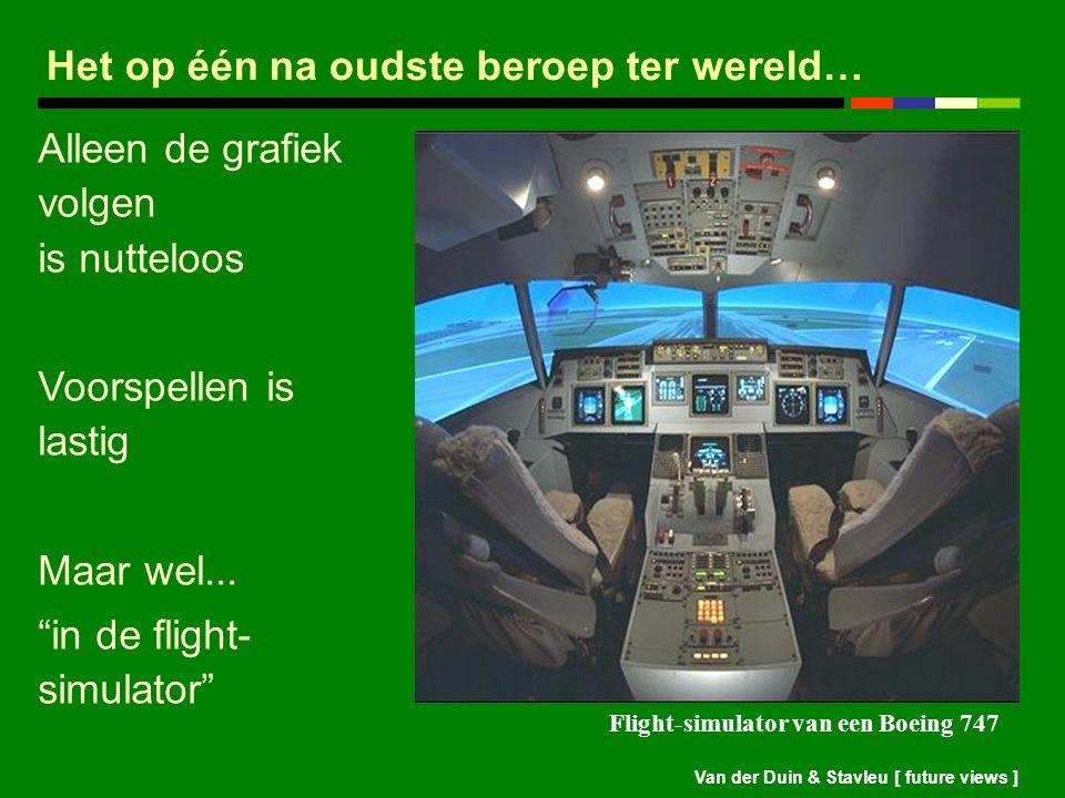 """Van der Duin & Stavleu [ future views ] Alleen de grafiek volgen is nutteloos Voorspellen is lastig Maar wel... """"in de flight- simulator"""" Flight-simul"""