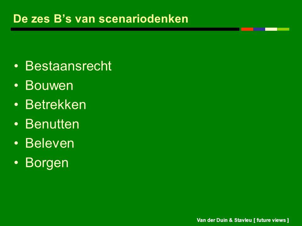 Van der Duin & Stavleu [ future views ] De zes B's van scenariodenken Bestaansrecht Bouwen Betrekken Benutten Beleven Borgen