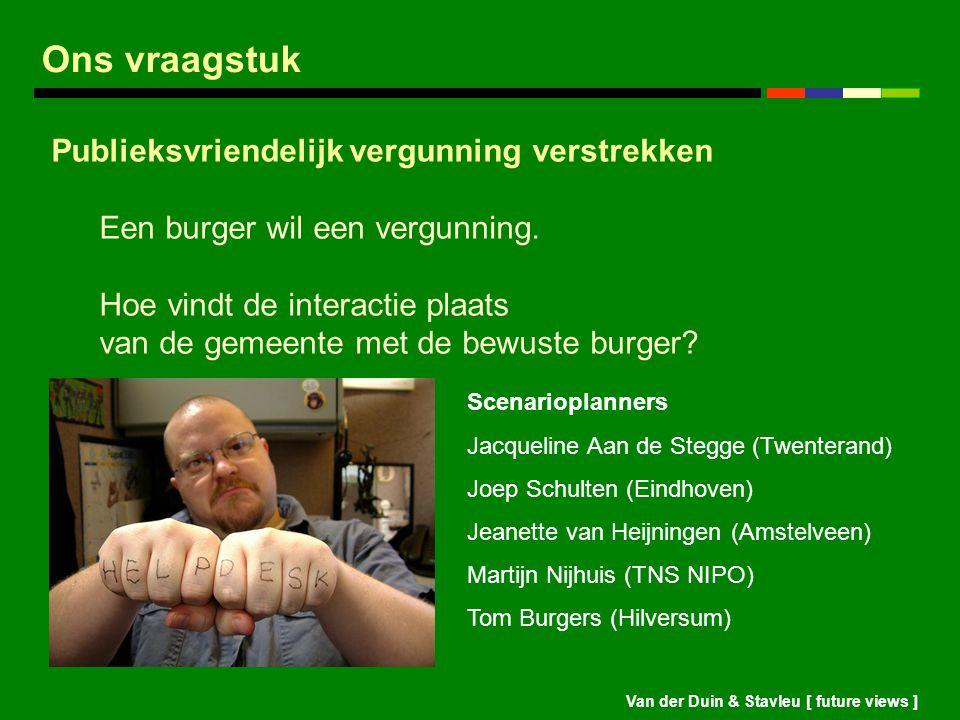 Van der Duin & Stavleu [ future views ] Ons vraagstuk Publieksvriendelijk vergunning verstrekken Een burger wil een vergunning. Hoe vindt de interacti