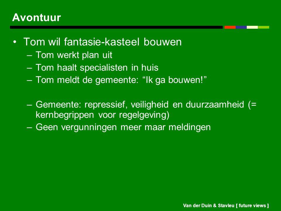 Van der Duin & Stavleu [ future views ] Avontuur Tom wil fantasie-kasteel bouwen –Tom werkt plan uit –Tom haalt specialisten in huis –Tom meldt de gem