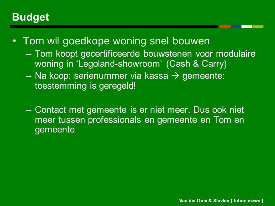 Van der Duin & Stavleu [ future views ] Budget Tom wil goedkope woning snel bouwen –Tom koopt gecertificeerde bouwstenen voor modulaire woning in 'Leg