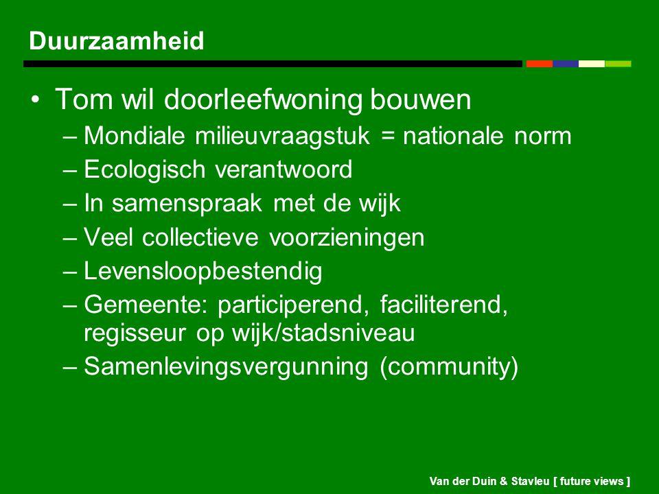Van der Duin & Stavleu [ future views ] Duurzaamheid Tom wil doorleefwoning bouwen –Mondiale milieuvraagstuk = nationale norm –Ecologisch verantwoord