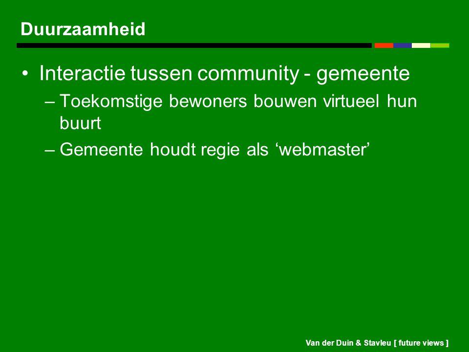 Van der Duin & Stavleu [ future views ] Duurzaamheid Interactie tussen community - gemeente –Toekomstige bewoners bouwen virtueel hun buurt –Gemeente