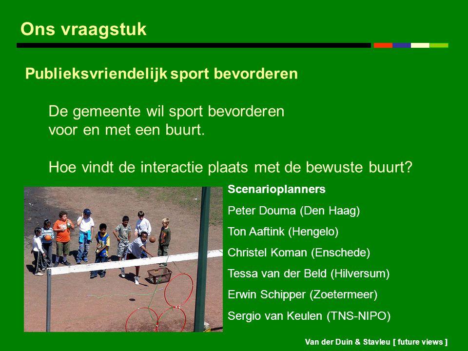Van der Duin & Stavleu [ future views ] Ons vraagstuk Publieksvriendelijk sport bevorderen De gemeente wil sport bevorderen voor en met een buurt. Hoe