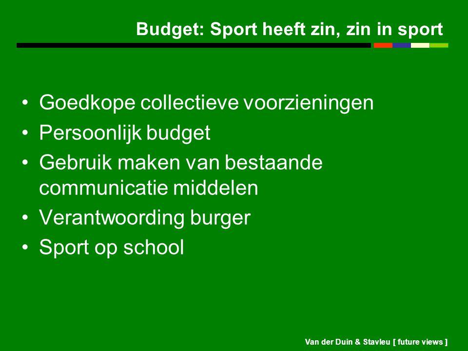Van der Duin & Stavleu [ future views ] Budget: Sport heeft zin, zin in sport Goedkope collectieve voorzieningen Persoonlijk budget Gebruik maken van