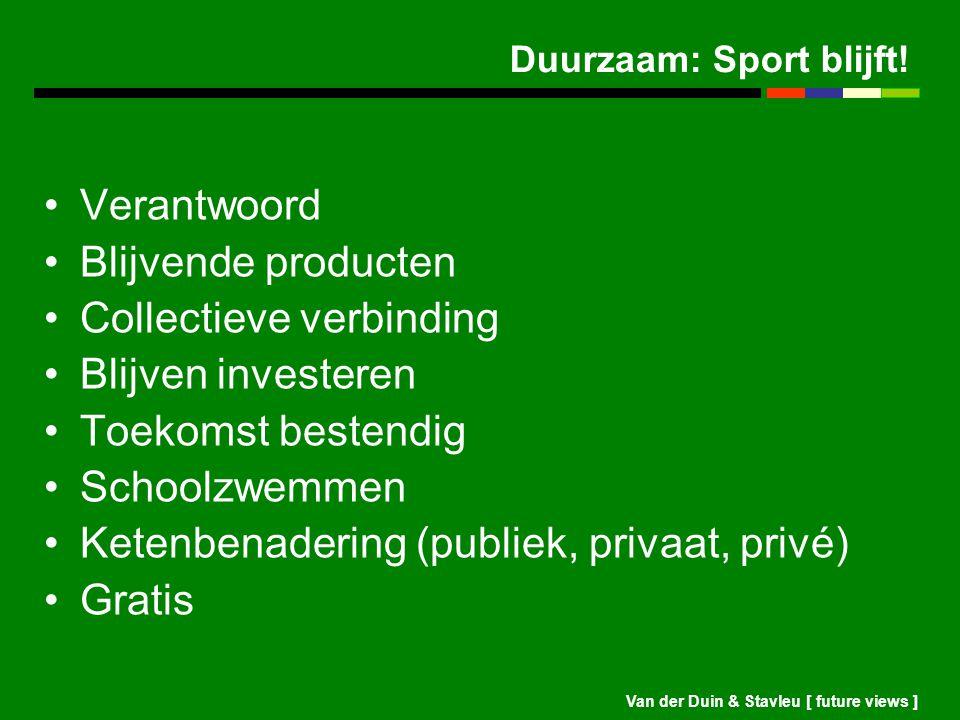 Van der Duin & Stavleu [ future views ] Duurzaam: Sport blijft! Verantwoord Blijvende producten Collectieve verbinding Blijven investeren Toekomst bes