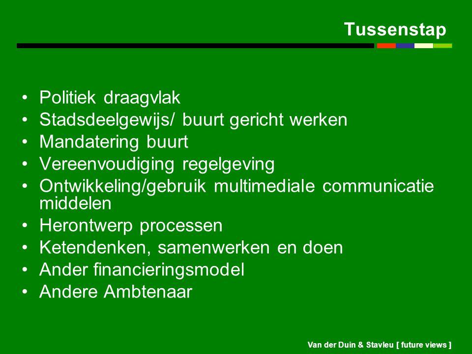 Van der Duin & Stavleu [ future views ] Tussenstap Politiek draagvlak Stadsdeelgewijs/ buurt gericht werken Mandatering buurt Vereenvoudiging regelgev