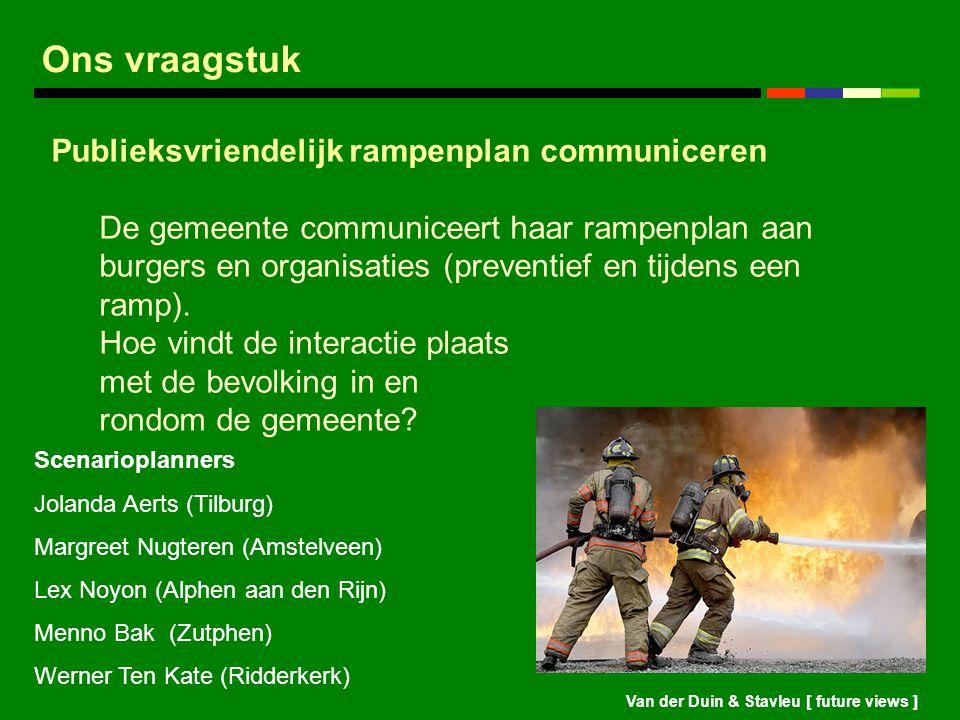 Van der Duin & Stavleu [ future views ] Ons vraagstuk Publieksvriendelijk rampenplan communiceren De gemeente communiceert haar rampenplan aan burgers