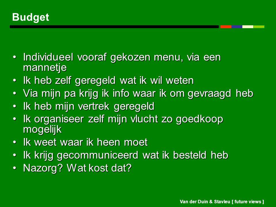 Van der Duin & Stavleu [ future views ] Budget Individueel vooraf gekozen menu, via een mannetjeIndividueel vooraf gekozen menu, via een mannetje Ik h