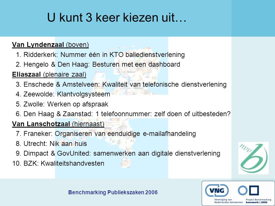 Benchmarking Publiekszaken 2006 U kunt 3 keer kiezen uit… Van Lyndenzaal (boven) 1. Ridderkerk: Nummer één in KTO baliedienstverlening 2. Hengelo & De