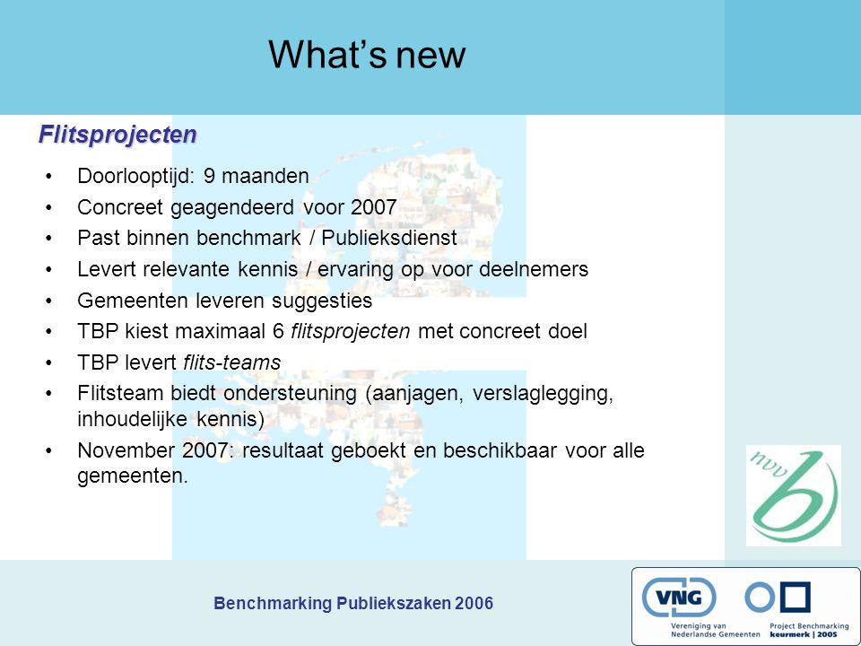 Benchmarking Publiekszaken 2006 Flitsprojecten What's new Doorlooptijd: 9 maanden Concreet geagendeerd voor 2007 Past binnen benchmark / Publieksdiens