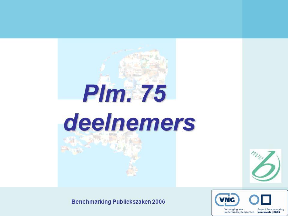 Benchmarking Publiekszaken 2006 Plm. 75 deelnemers