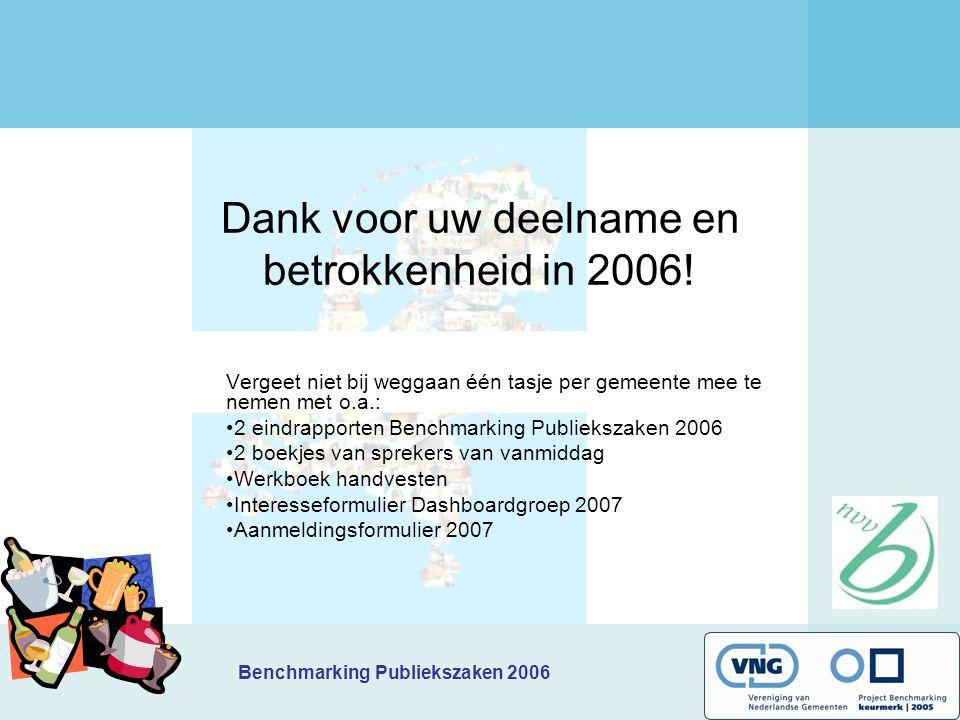 Benchmarking Publiekszaken 2006 Dank voor uw deelname en betrokkenheid in 2006! Vergeet niet bij weggaan één tasje per gemeente mee te nemen met o.a.: