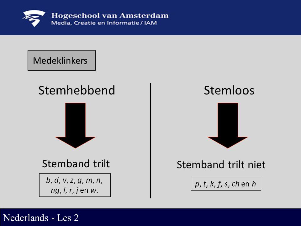 Medeklinkers StemhebbendStemloos Stemband trilt Stemband trilt niet b, d, v, z, g, m, n, ng, l, r, j en w.