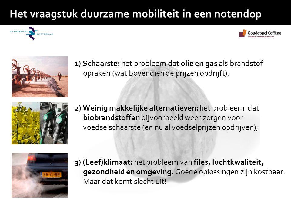 Het vraagstuk duurzame mobiliteit in een notendop 1) Schaarste: het probleem dat olie en gas als brandstof opraken (wat bovendien de prijzen opdrijft)