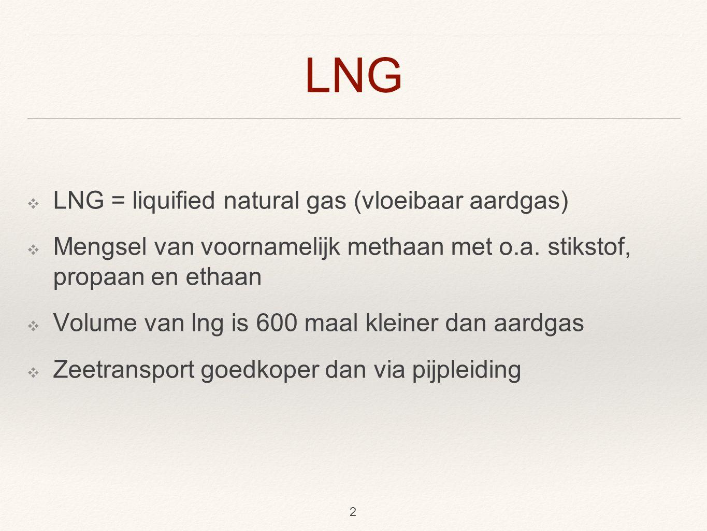 LNG ❖ LNG = liquified natural gas (vloeibaar aardgas) ❖ Mengsel van voornamelijk methaan met o.a.