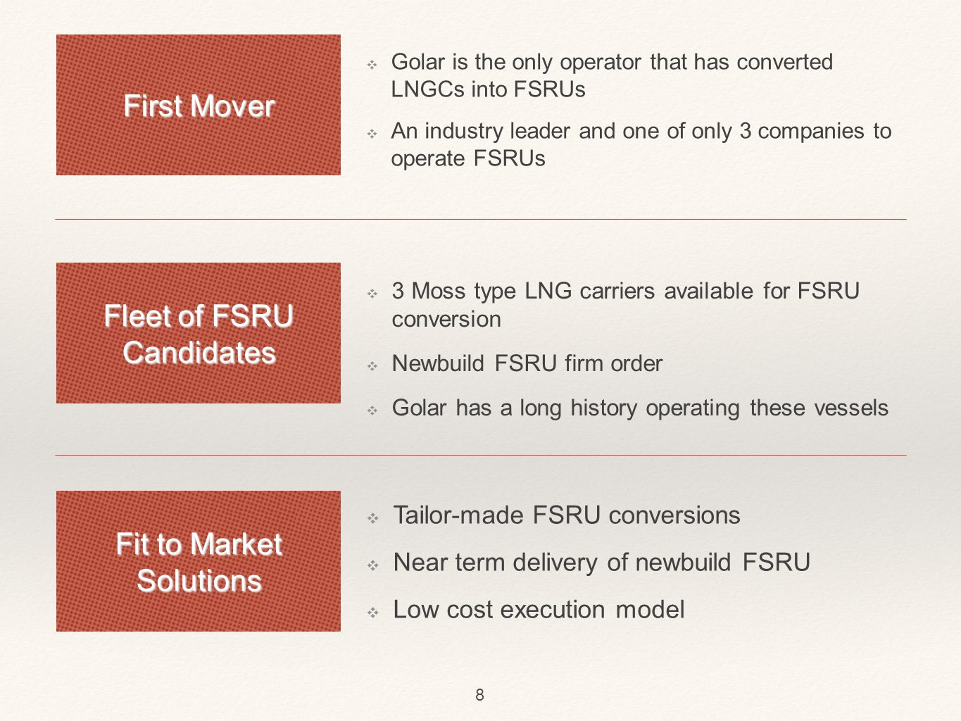 Golar LNG: Vooruitzicht ❖ Focus on leveraging LNG carriers and FSRU positions ❖ First priority is high value term employment ❖ 31.7.2013 - FSRU time charter contract with Jordanian government (10 years) ❖ 4.8.2013 - FSRU time charter contract with Kuwait National Petroleum Company (5 years) ❖ New opportunities in North America (USA/Panama Canal) ❖ Able to withstand fluctuating day rates thanks to size 9