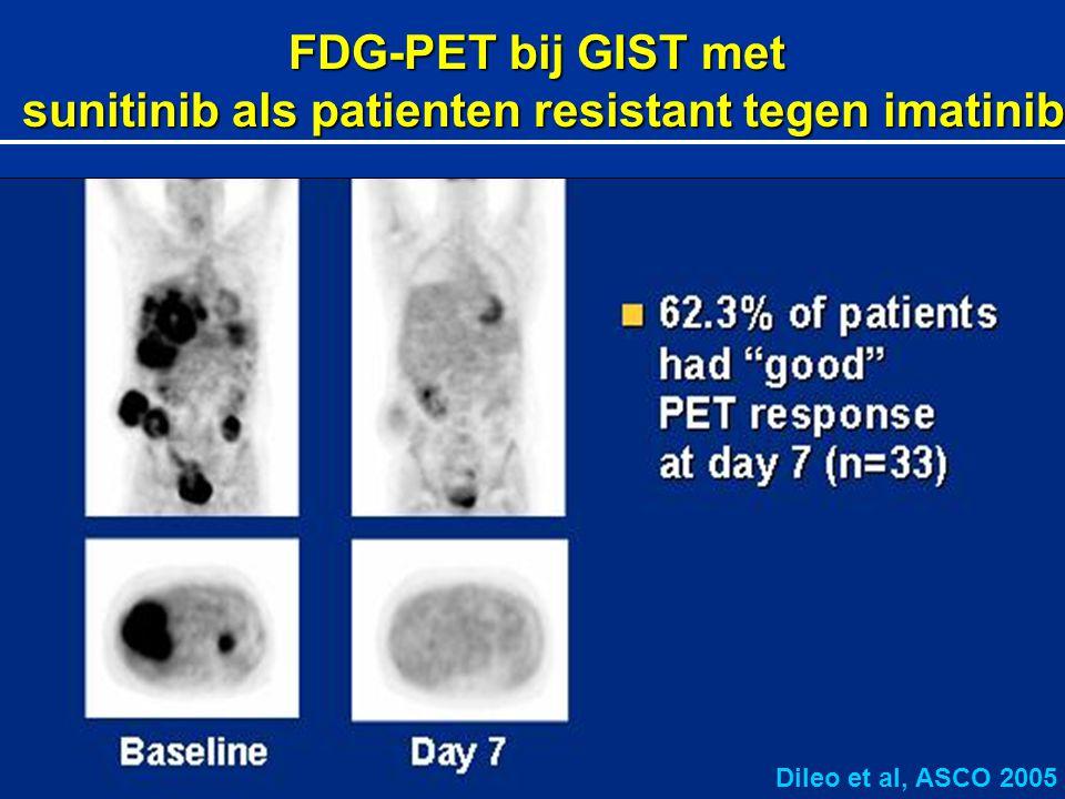 FDG-PET bij GIST met sunitinib als patienten resistant tegen imatinib sunitinib als patienten resistant tegen imatinib Dileo et al, ASCO 2005