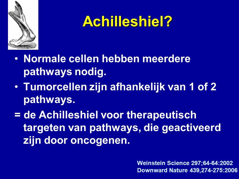 Achilleshiel? Achilleshiel? Normale cellen hebben meerdere pathways nodig. Tumorcellen zijn afhankelijk van 1 of 2 pathways. = de Achilleshiel voor th