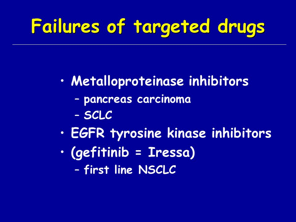Failures of targeted drugs Metalloproteinase inhibitors –pancreas carcinoma –SCLC EGFR tyrosine kinase inhibitors (gefitinib = Iressa) –first line NSC