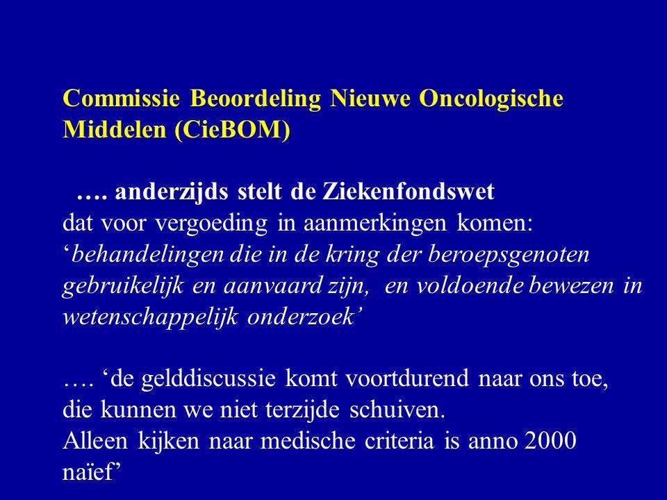 Commissie Beoordeling Nieuwe Oncologische Middelen (CieBOM) …. anderzijds stelt de Ziekenfondswet dat voor vergoeding in aanmerkingen komen: 'behandel