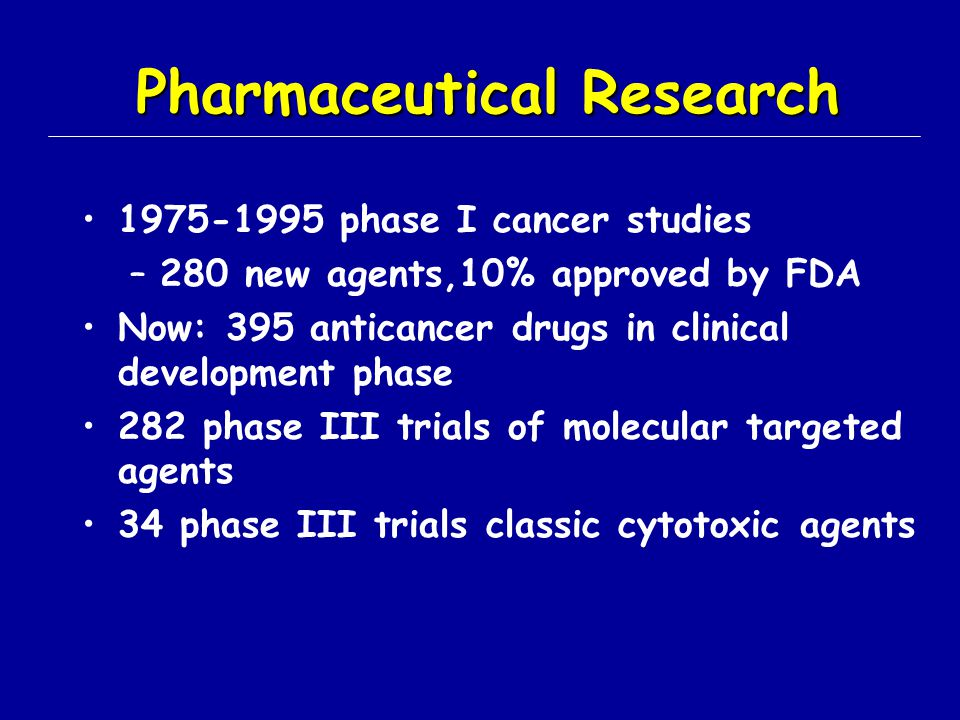 Pharmaceutical Research 1975-1995 phase I cancer studies –280 new agents,10% approved by FDA Now: 395 anticancer drugs in clinical development phase 2