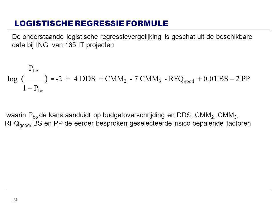 24 LOGISTISCHE REGRESSIE FORMULE De onderstaande logistische regressievergelijking is geschat uit de beschikbare data bij ING van 165 IT projecten P bo log ( ) = -2 + 4 DDS + CMM 2 - 7 CMM 3 - RFQ good + 0,01 BS – 2 PP 1 – P bo waarin P bo de kans aanduidt op budgetoverschrijdingen DDS, CMM 2, CMM 3, RFQ good, BS en PP de eerder besproken geselecteerde risico bepalende factoren