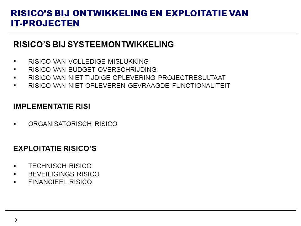 3 RISICO'S BIJ ONTWIKKELING EN EXPLOITATIE VAN IT-PROJECTEN RISICO'S BIJ SYSTEEMONTWIKKELING  RISICO VAN VOLLEDIGE MISLUKKING  RISICO VAN BUDGET OVERSCHRIJDING  RISICO VAN NIET TIJDIGE OPLEVERING PROJECTRESULTAAT  RISICO VAN NIET OPLEVEREN GEVRAAGDE FUNCTIONALITEIT IMPLEMENTATIE RISI  ORGANISATORISCH RISICO EXPLOITATIE RISICO'S  TECHNISCH RISICO  BEVEILIGINGS RISICO  FINANCIEEL RISICO